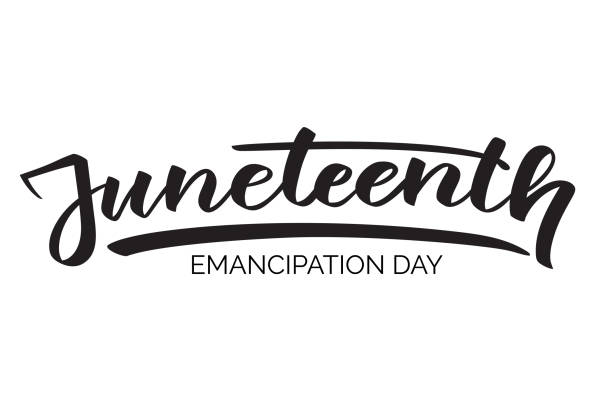 Juneteenth emancipation day, hand-written text, typography, hand lettering, calligraphy. Hand writing of word Juneteenth, june 19, for holiday postcard, greeting card, flyer, banner, poster. One color Juneteenth emancipation day, hand-written text, typography, hand lettering, calligraphy. Hand writing of word Juneteenth, june 19, for holiday postcard, greeting card, flyer, banner, poster. One color civil rights stock illustrations