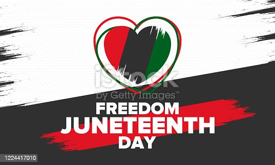 istock Juneteenth Independence Day. Freedom or Emancipation day. Annual american holiday, celebrated in June 19. African-American history and heritage. Poster, greeting card, banner and background. Vector 1224417010