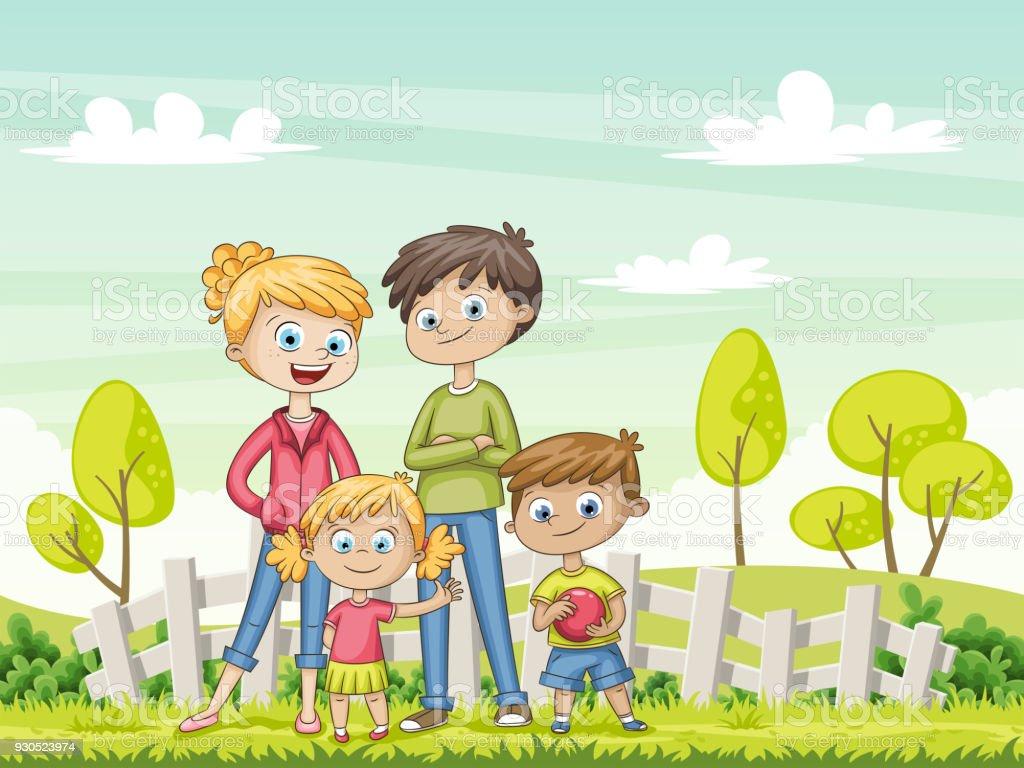 Jungfamilie Im Garten Lustige Comicfigur Stock Vektor Art Und Mehr