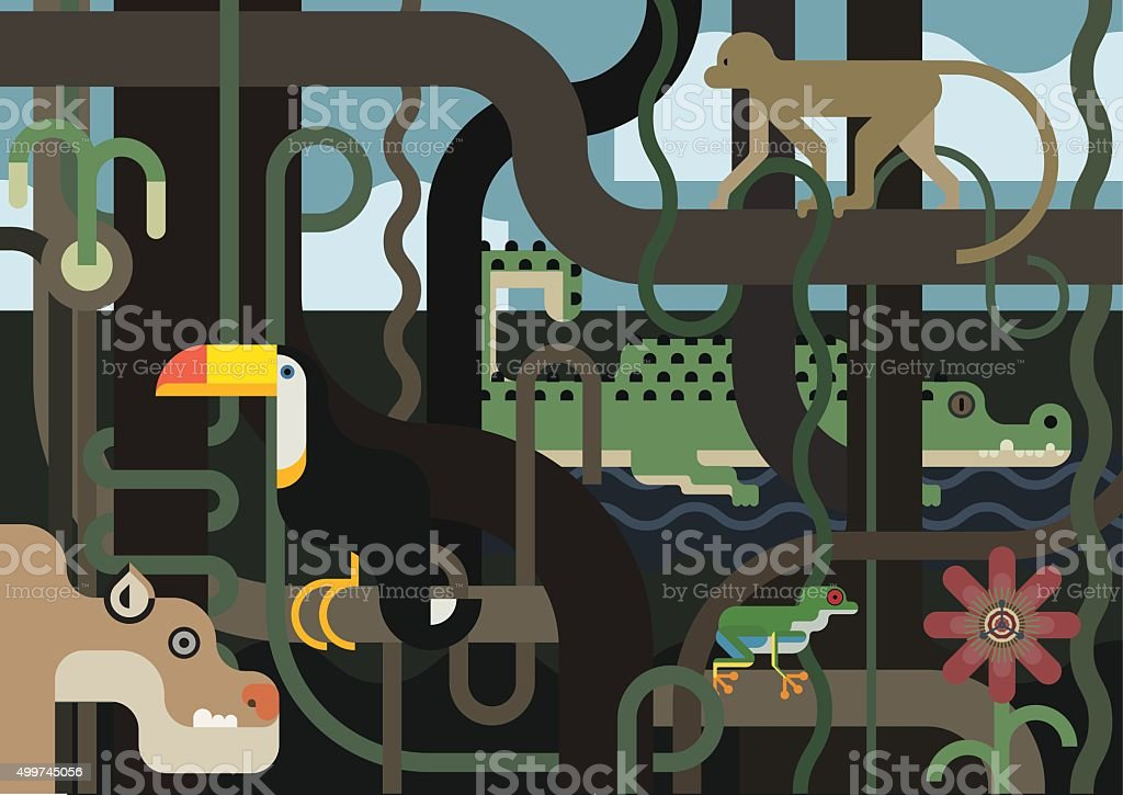 Jungle, a wildlife scene full of animals vector art illustration