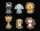 Set of cute vector icons of jungle animals including zebra, elephant, lion, giraffe, tiger and monkey.