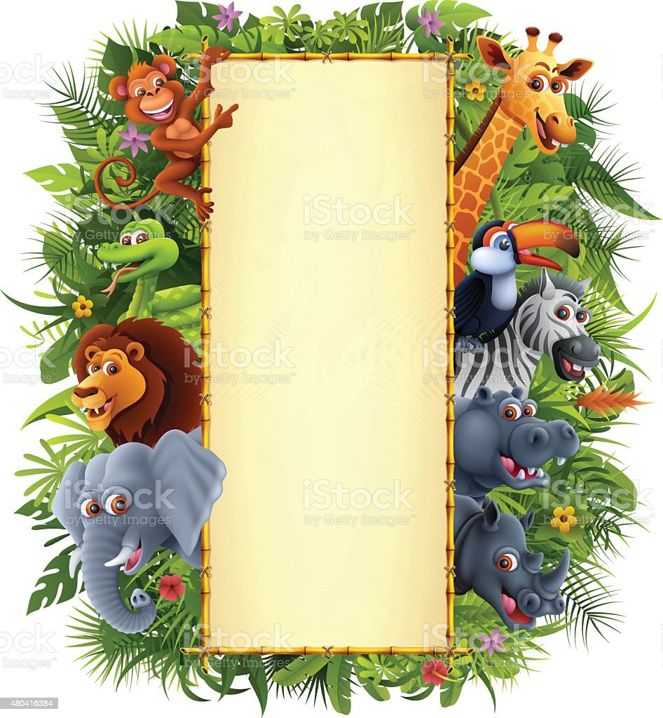 Jungle Animals and Bamboo Sign vector art illustration