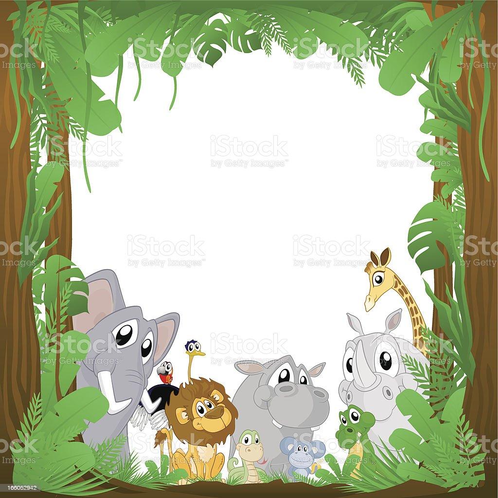 Jungle Animals Background Frame royalty-free jungle animals background frame stock vector art & more images of amazon rainforest