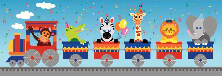 Jungle animals birthday train