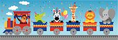 Vector illustration of a train going to a birthday party, carrying jungle animals:  a monkey, an alligator, a zebra, a giraffe, a lion and an elephant aboard.