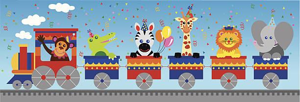 ジャングルアニマルズ誕生日列車 - 野生動物旅行点のイラスト素材/クリップアート素材/マンガ素材/アイコン素材