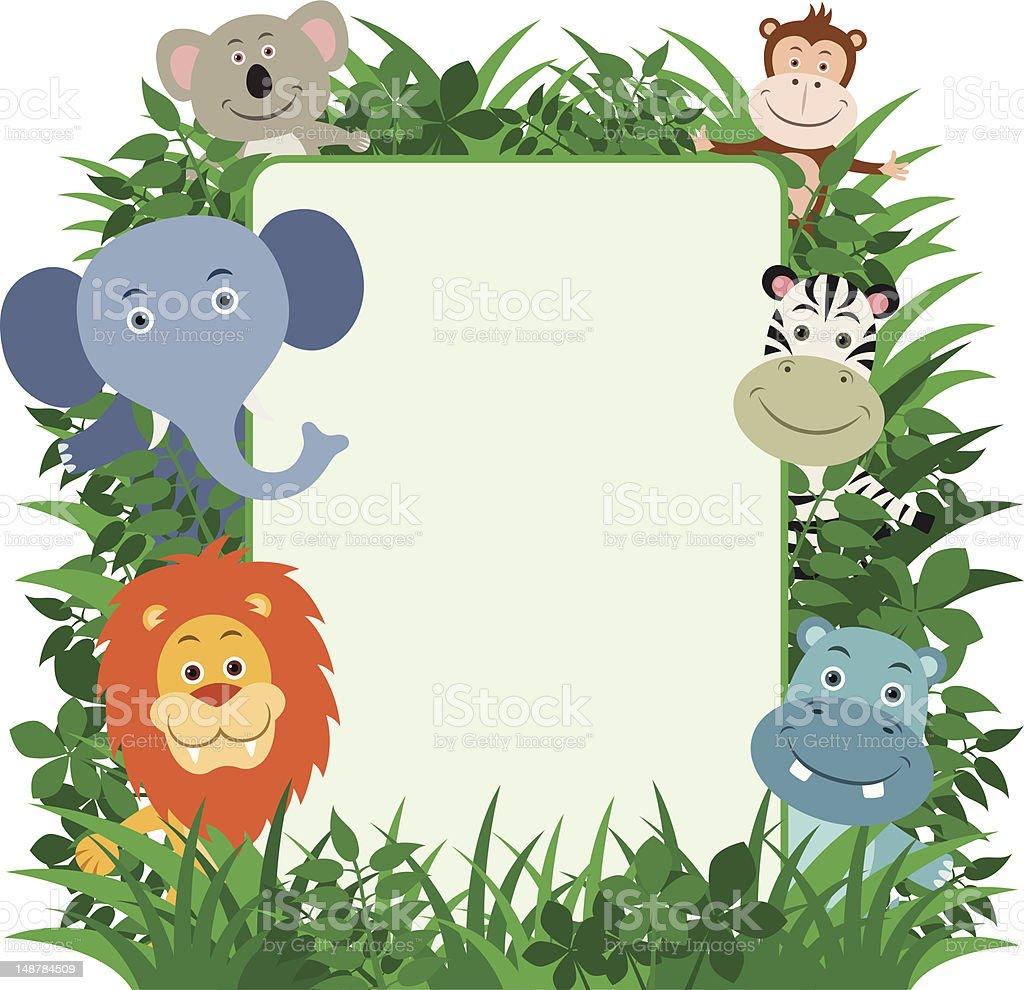 Jungle Animals Frame royalty-free stock vector art