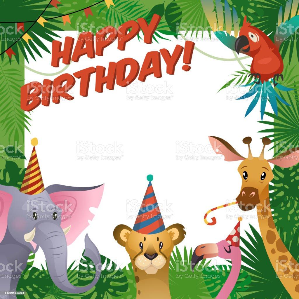 Carte De Fête Animaux Jungle Joyeux Anniversaire Bébé Douche Voeux