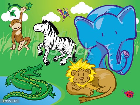 The whole gang is here...7 of my happy little jungle animals all in one scene. Each is grouped and individually selectable.