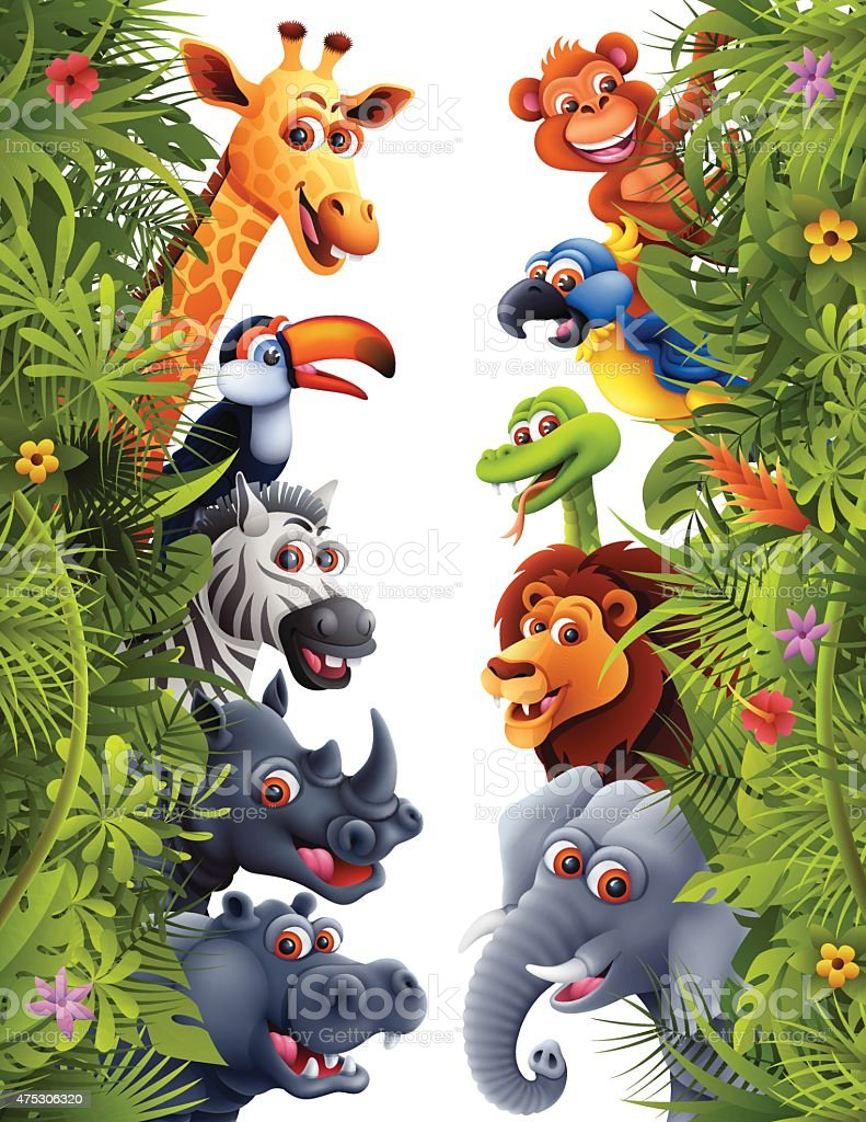 Jungle Animals vector art illustration