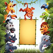 Jungle Animals with Bamboo Sign
