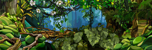 jungle background with lush tropical plants and trees beautiful jungle background with lush tropical plants and trees moss stock illustrations