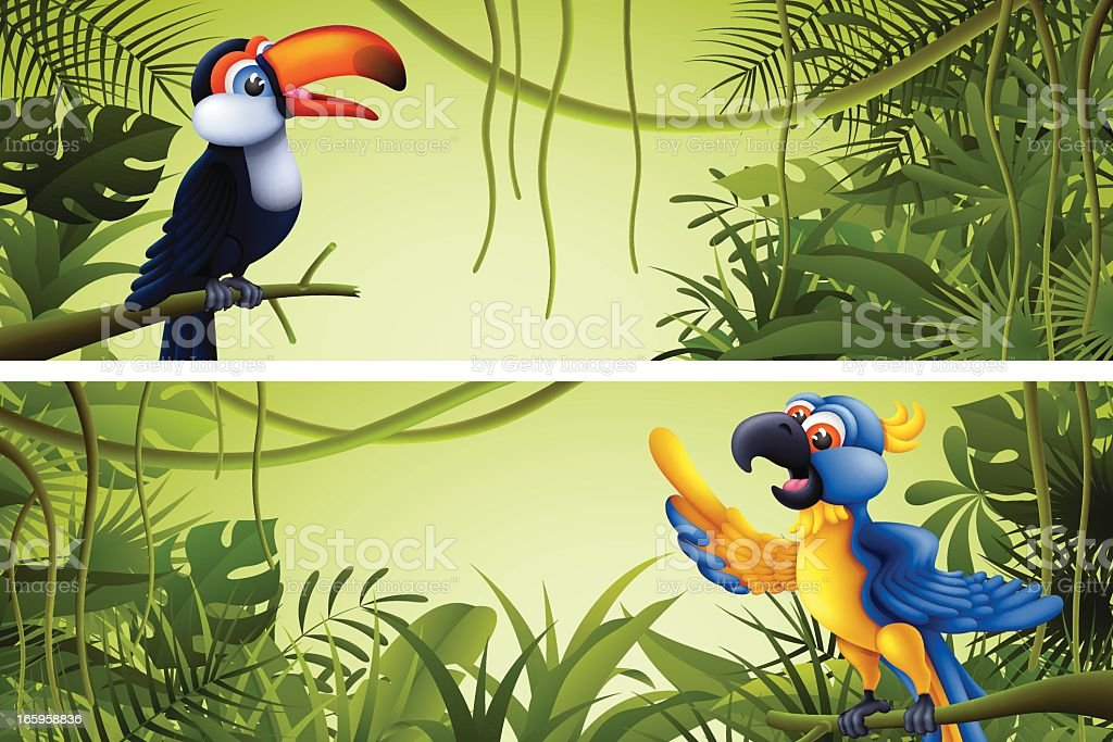 Jungle Banners with Tropical Birds royalty-free stock vector art