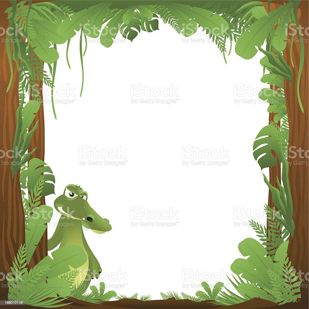 Jungle Crocodile Frame Background royalty-free jungle crocodile frame background stock vector art & more images of alligator