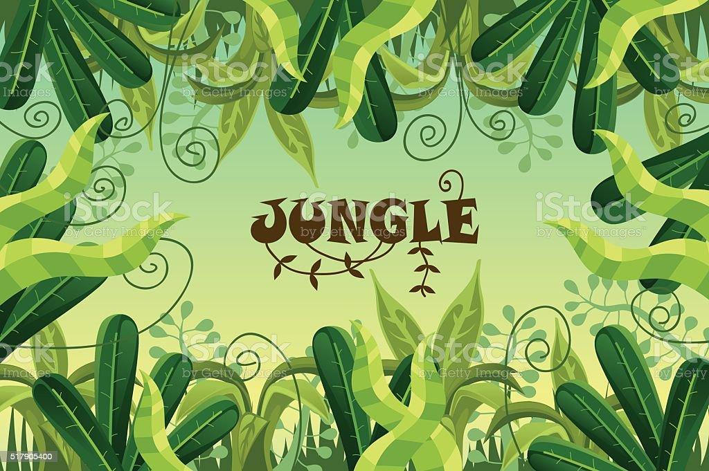 jungle forest landscape vector art illustration