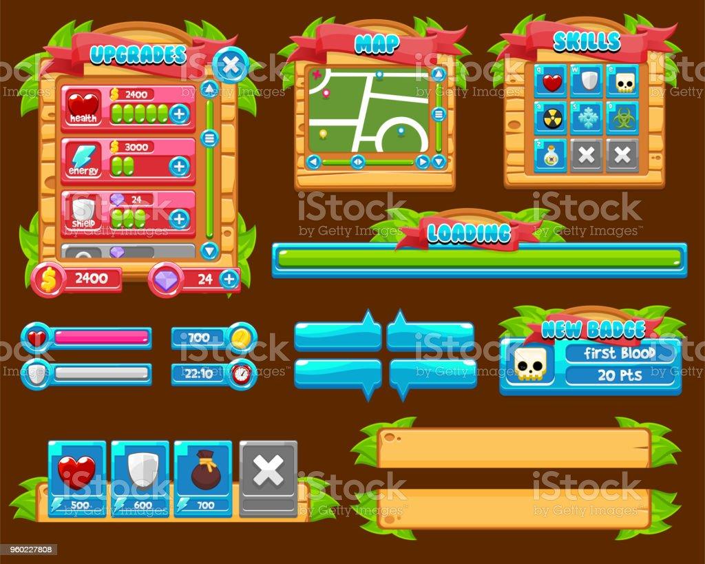 Jungle Game User Interface Pack Stock Illustration - Download Image