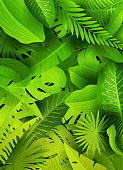 Rain forest leaf background. Global colors and layers used.