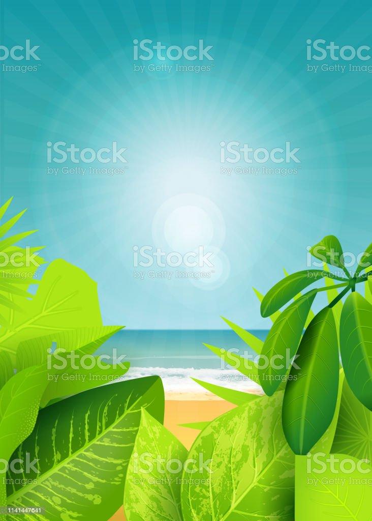 Jungle green background vector art illustration