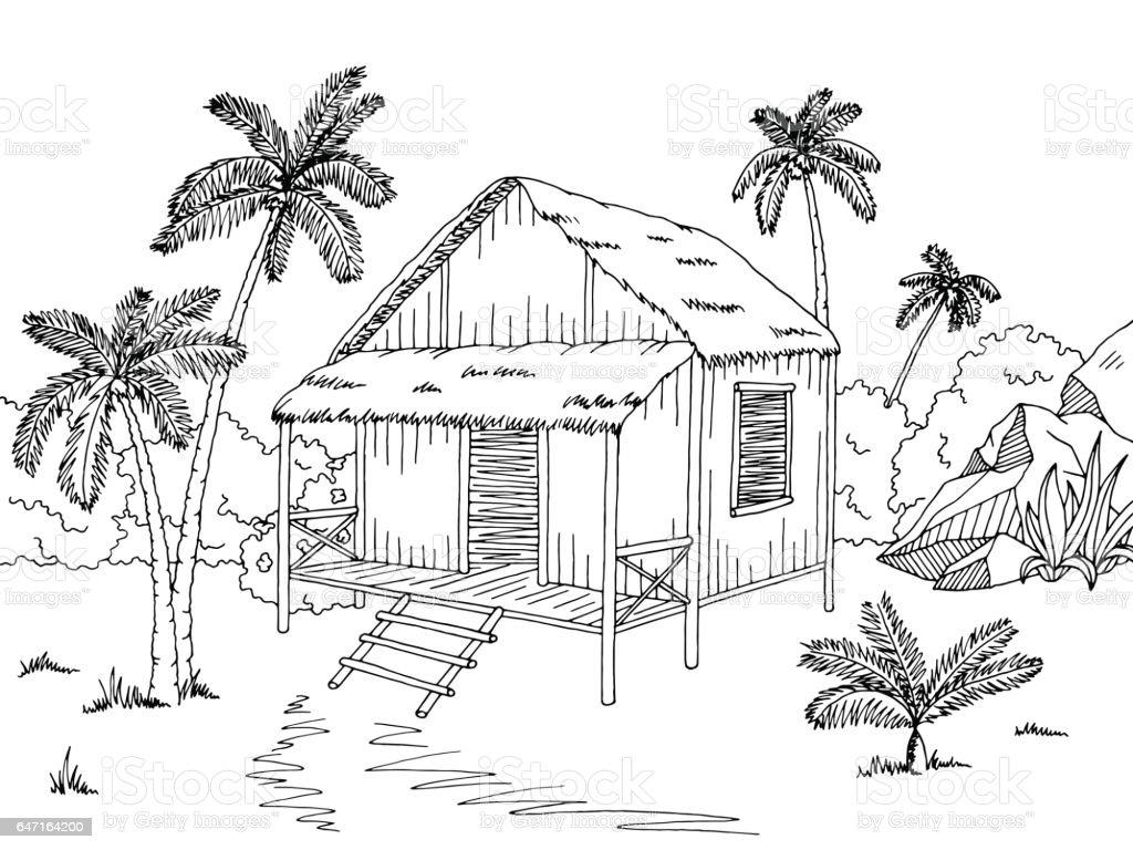 Jungle hut house graphic black white sketch illustration vector vector art illustration