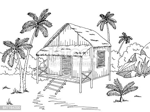 Bamboo Hut Sketch