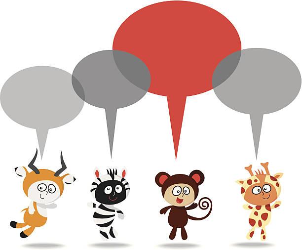 jungle kinder sprechen - giraffenkostüm stock-grafiken, -clipart, -cartoons und -symbole