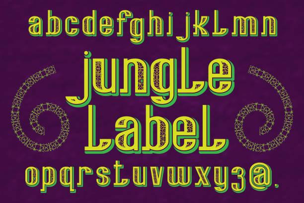 jungle label typeface. decorative font. isolated english alphabet. - jungle stock illustrations