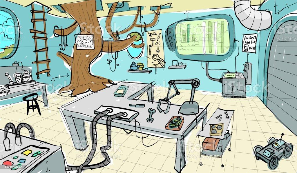 Jungle laboratory interior