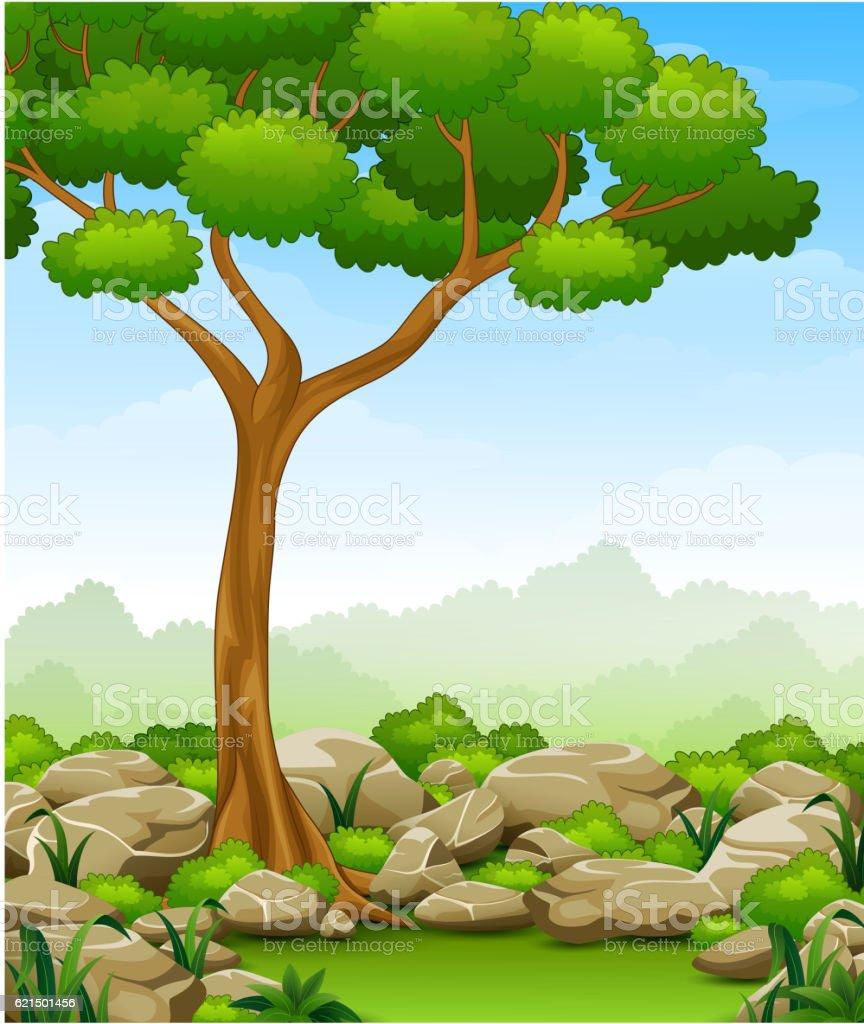 Jungle landscape with tree and stone Lizenzfreies jungle landscape with tree and stone stock vektor art und mehr bilder von anhöhe