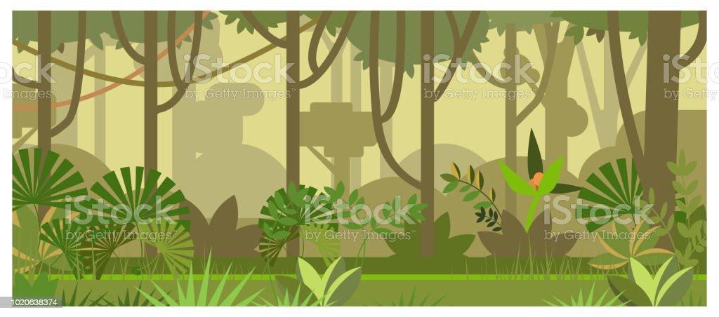 Jungle landscape with trees and plants vector illustration - Векторная графика Абстрактный роялти-фри