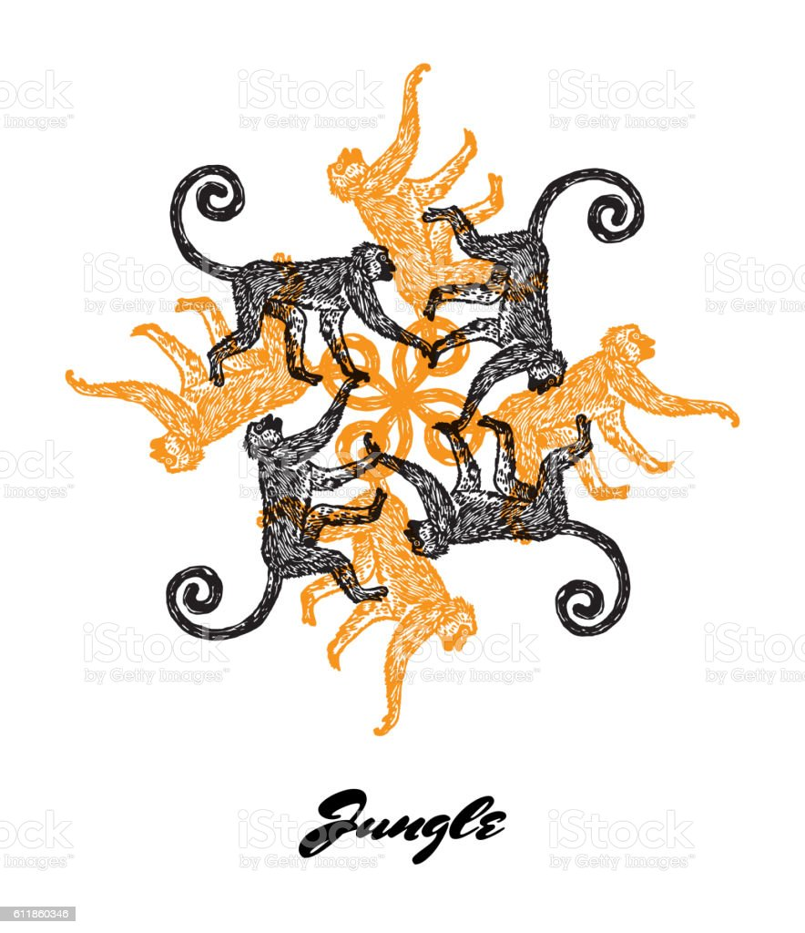 Jungle Mood Engraved Fractal Outlet Composition With Monkey