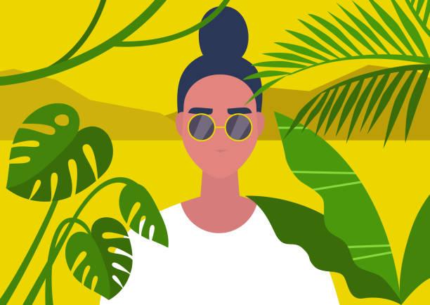 illustrazioni stock, clip art, cartoni animati e icone di tendenza di jungle nature, travel destinations, a portrait of a young female character framed by tropical plant leaves - woman portrait forest
