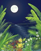 A dark tropical night with palms and flowers under a full moon glimmering over a lagoon.