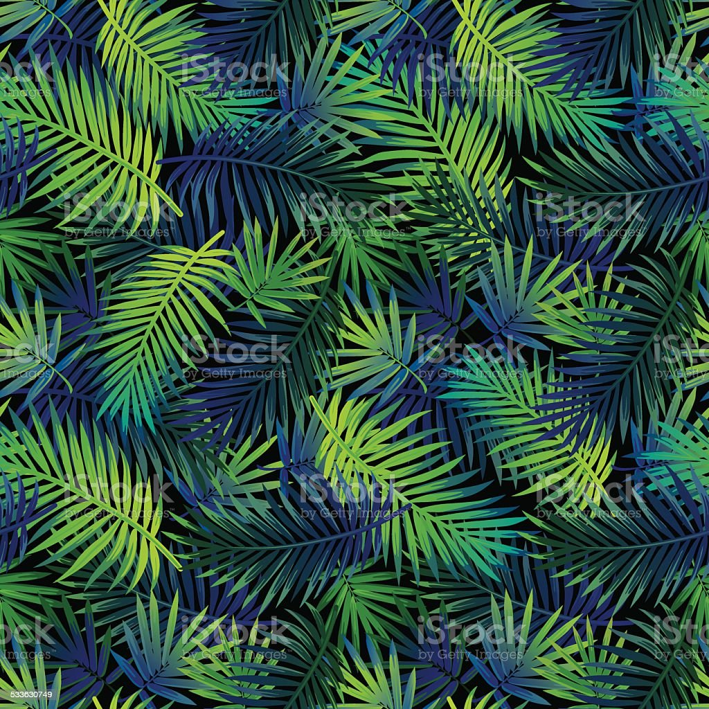 Jungle palm pattern vector art illustration