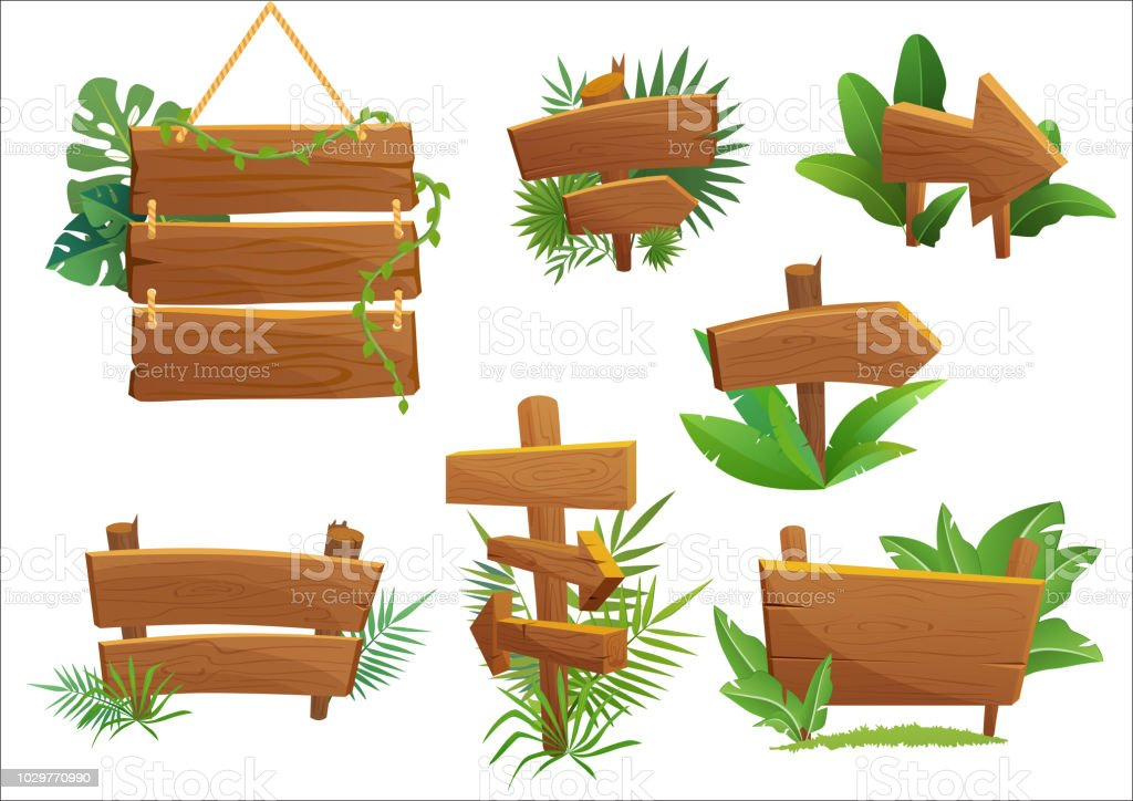 Jungle Rainforest Wood Sign With Tropical Leaves With Space For Text Cartoon Game Vector Illustration Stock Illustration Download Image Now Istock Download the free vector graphics to design your artworks which is related to sign, welcome, wood the welcome. jungle rainforest wood sign with tropical leaves with space for text cartoon game vector illustration stock illustration download image now istock