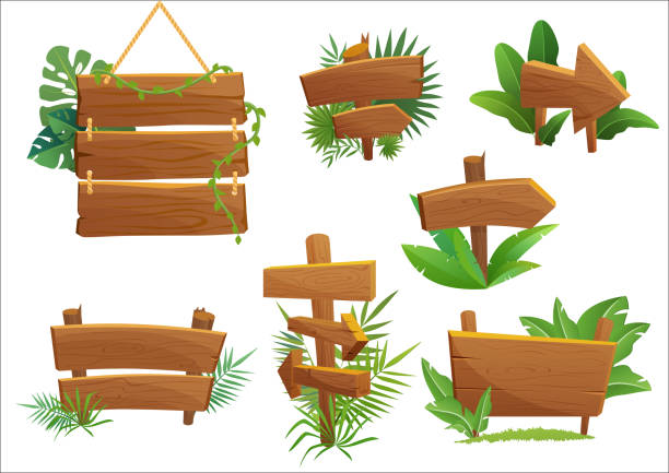 jungle rainforest wood sign with tropical leaves with space for text. cartoon game vector illustration. - transparent stock illustrations