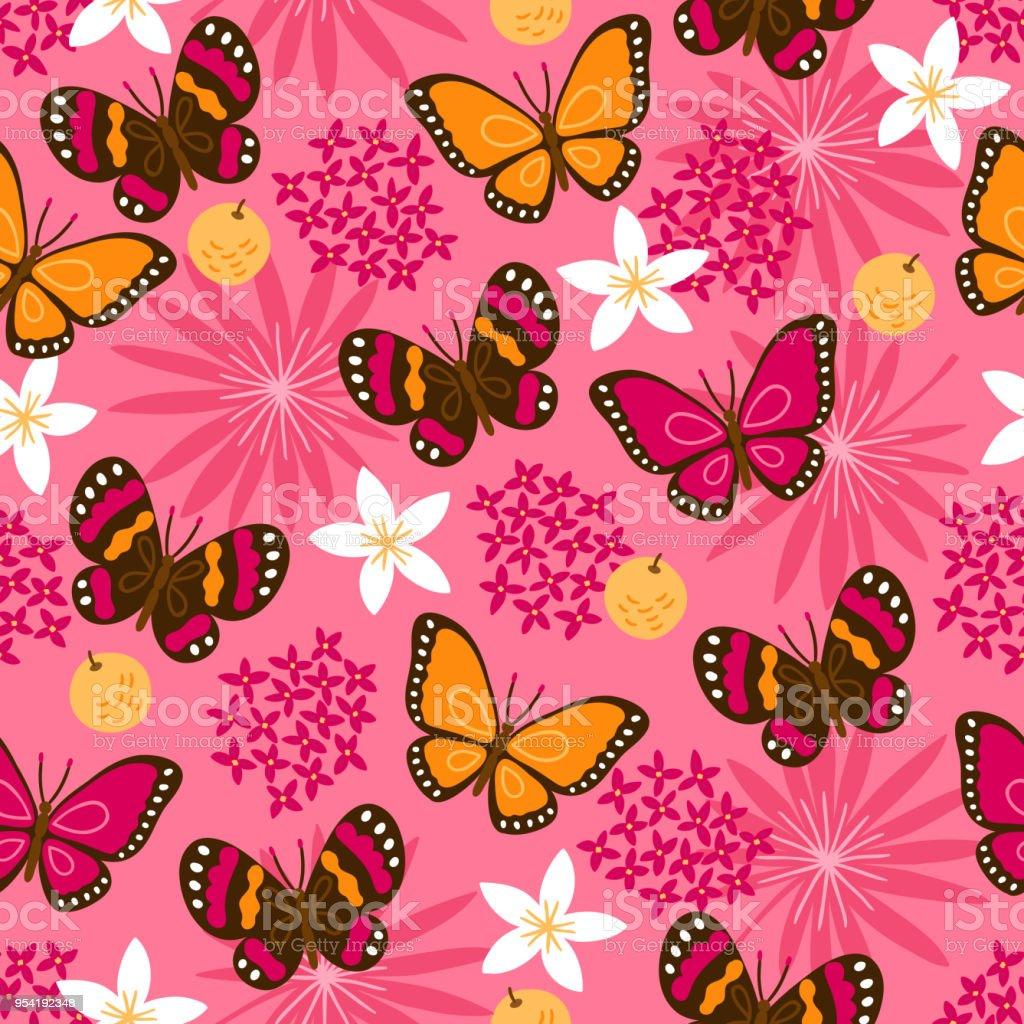 Ilustración de Patrón Sin Fisuras De Selva Con Mariposas Hojas De ...