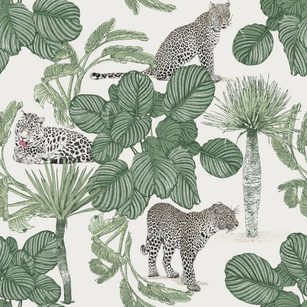 Jungle Seamless Repeat Pattern. Leopard, Jaguar, Palms. Vector seamless repeat. All colors are layered and grouped separately. Icons are available in more detail and in stroke form from my iStock folio. Easily editable. exotic animals stock illustrations