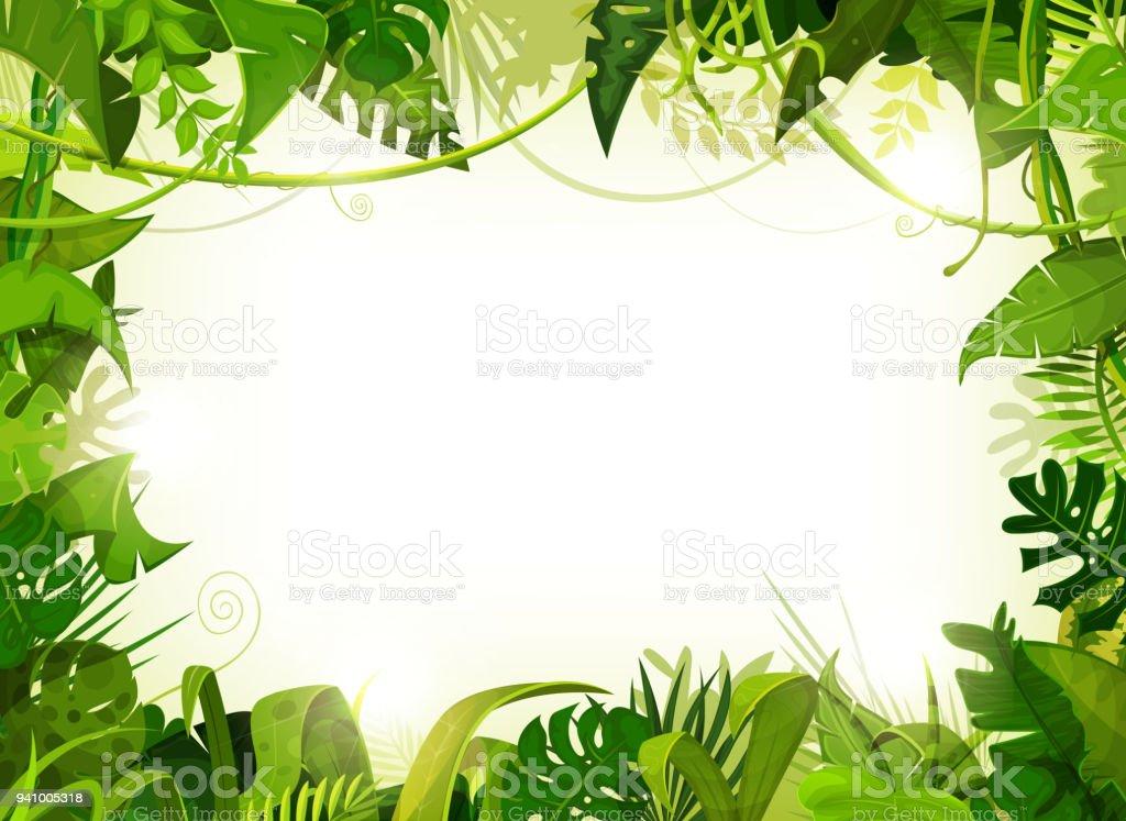 Jungle Tropical Landscape Background - Векторная графика Африка роялти-фри