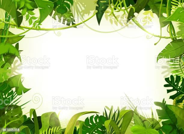 Jungle Tropical Landscape Background — стоковая векторная графика и другие изображения на тему Африка