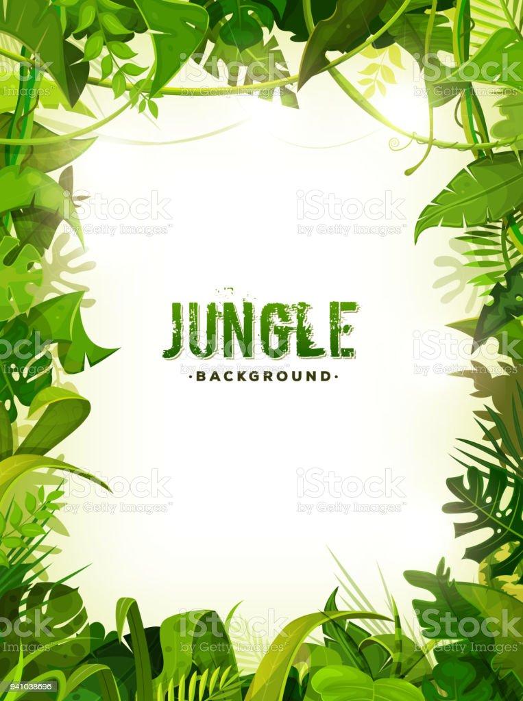 Jungle Tropical Leaves Background - illustrazione arte vettoriale