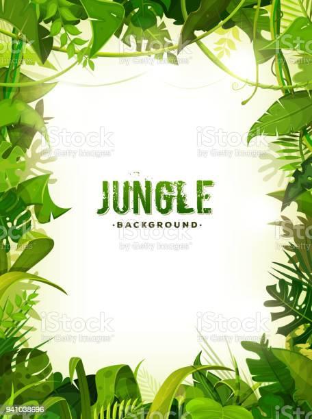 Jungle Tropical Leaves Background — стоковая векторная графика и другие изображения на тему Африка
