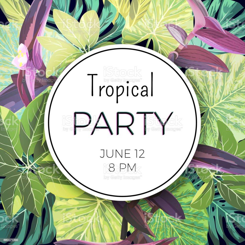 Dschungel Tropischen Party Flyer Mit Palmen Und Exotischen Pflanzen ...