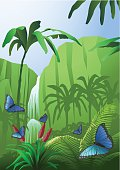 A jungle scene with steep rocks, a waterfall, palm trees and butterflies. Download contains EPS 8, AI 8, PDF, JPEG (5967 x 8433px).