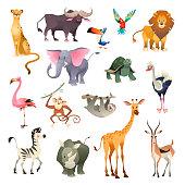 Jungle wild animals. Savannah forest animal bird safari nature africa tropical exotic forest marine mammals, cartoon vector set