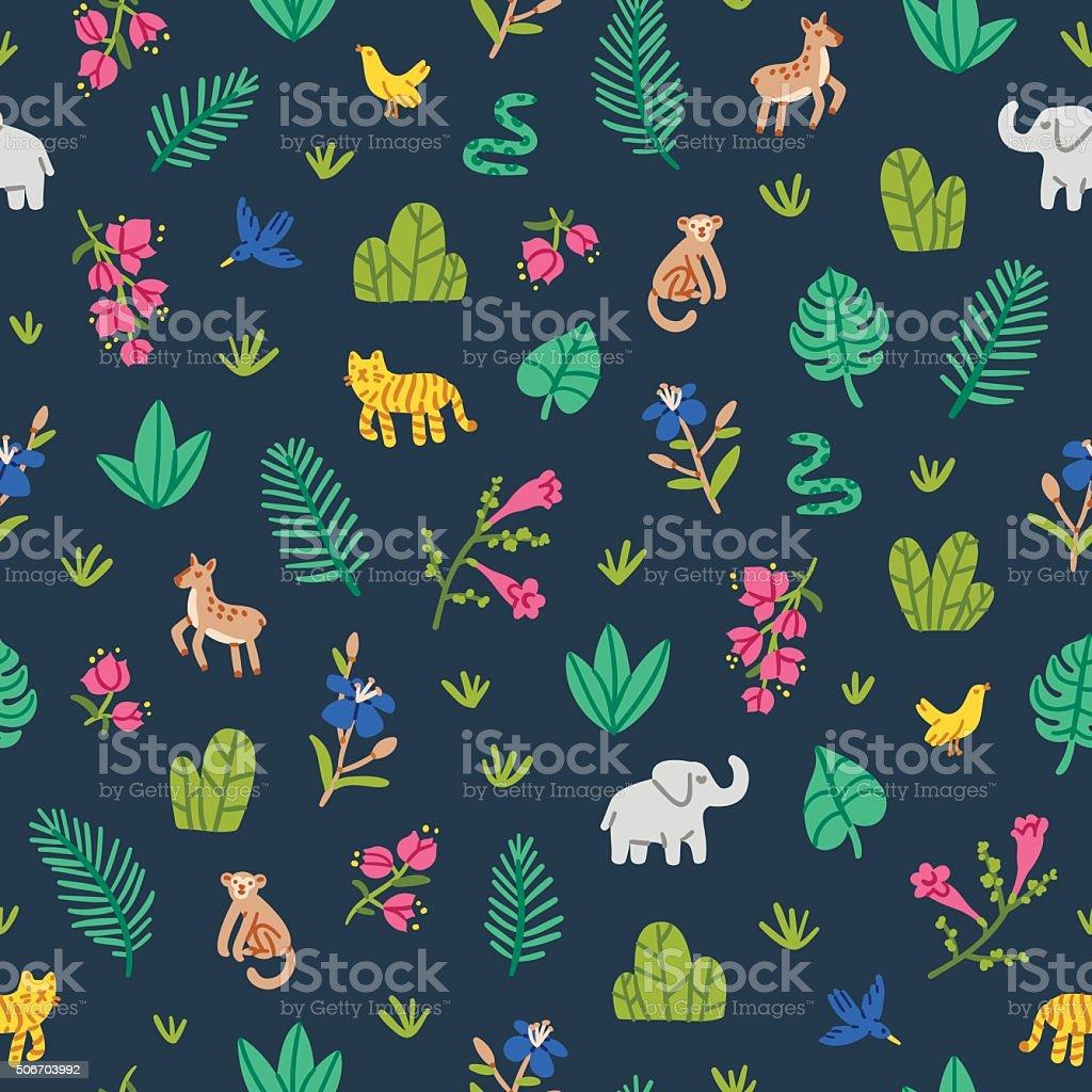 Jungle wildlife pattern vektör sanat illüstrasyonu
