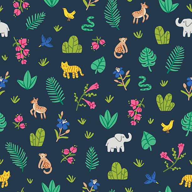 Selva patrón de Vida Silvestre - ilustración de arte vectorial