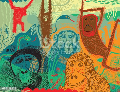 Vector illustration of hand drawn jungle with monkeys, gorillas, snakes and meerkats