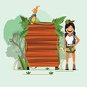 jungle wood sign with adventure girl - vector ullustration