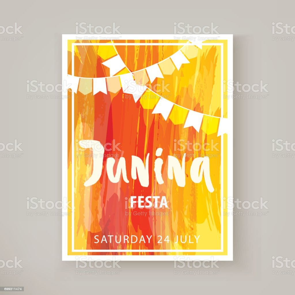 Junina Festa flyer vector art illustration