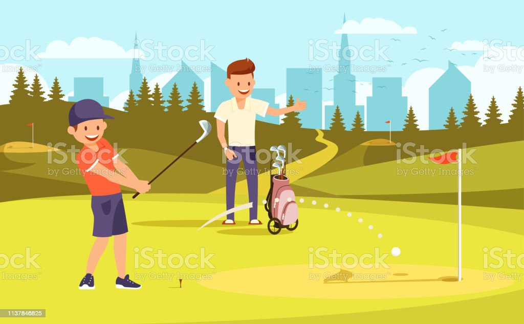 Junior Sporty Golfer Practicing On Driving Range Stock Illustration Download Image Now Istock